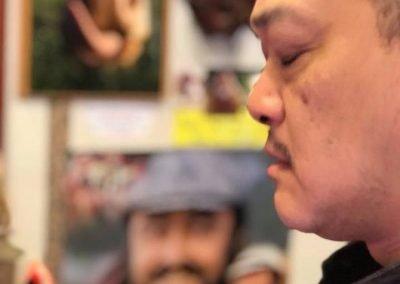 """Lo Chef giapponese Shigeru Nakaminato direttamente da TOKYO,nel """"tempio"""" della ciccia in un momento di meditazione-La casa del macellaio-Antica Macelleria Ghioldi"""